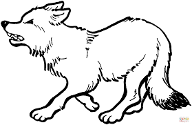 red fox growl coloring page free printable coloring pages