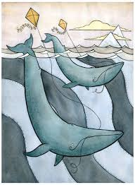 blue whales flying kites blue whale art giclee print