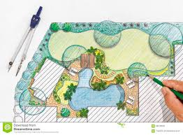 Landscape Architecture Ideas For Backyard Landscape Architect Design Backyard Plan For Villa Stock Photo