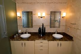bathroom mirror lighting ideas dark brown lacquered wooden counter