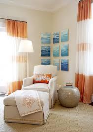 Orange And White Bedroom White Curtains With Orange Ribbon Trim Design Ideas