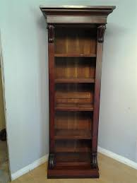 Narrow Mahogany Bookcase Narrow Mahogany Bookcase Carved Detail Adjustable