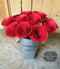 paper flowers stemmed red wedding home decor baby shower