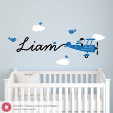 Ocean Wall Decals For Nursery by Airplane Skywriter Name Boy Wall Decal Graphic Spaces