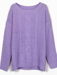 purple sweater purple neck cable knitting jumper sweater shein sheinside