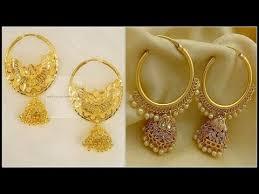 gold jhumka hoop earrings gold hoop jhumka earrings designs