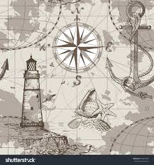 Map With Compass Hand Drawn Vector Seamless Sea Map Stock Vector 618875495