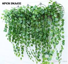 green artificial hanging vine plant leaves foliage flower