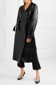 attico snake and crocodile effect glossed leather trench coat