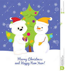 white teddy bear snowman and christmas tree stock vector image