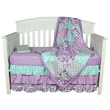 Light Blue Coverlet The Peanut Shell Baby Crib Bedding Set Purple Floral Design