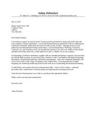 samples of internship cover letters