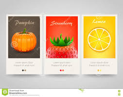 modern colorful vertical fruit vegetable and berry banners stock