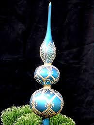vintage peacock blue tree topper finial