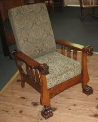 antique mission oak morris chair leather recliner w built in foot