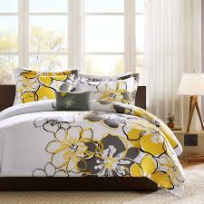 bedroom wonderful modern gray yellow bedding set idea good