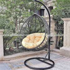 outdoor hanging rattan ball chair with fireproof fabric and foam