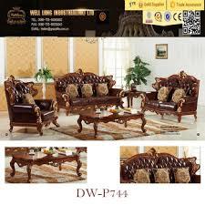 genuine leather sofa set gold foiled classic carved wood leather sofa set genuine leather