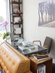 furniture small office design with shelves unit and glass top