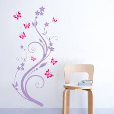 butterfly wall decals and flowers design idea and decorations