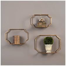 amazon com 3 pc wall shelf set in gold home u0026 kitchen