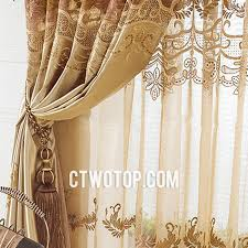 Brown Gold Curtains And Brown Flower Patterned Embroidery Best Cheap Lace Curtains