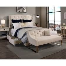 Peyton Leather Sofa Peyton U0027 Ivory Headboard Storage Bed And Sofa Bench Set King Cal