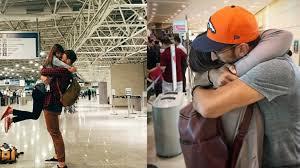 imagenes de un amor a larga distancia 8 parejas en aeropuertos que demuestran que el amor a larga