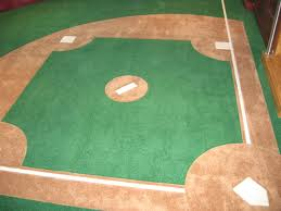 custom made wall to wall carpet with a baseball diamond by g