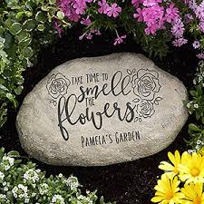 personalized garden stones personalized garden stones time to smell the flowers