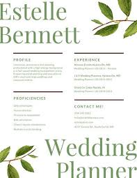 Resume For Wedding Planner Green Watercolor Leaves Modern Resume Templates By Canva