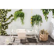 White Cast Iron Patio Furniture Safavieh Brielle Outdoor Iron Patio Bench In Antique White