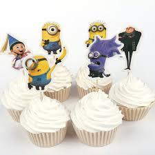 Despicable Me Decorations Aliexpress Com Buy 24pcs Lot Despicable Me Gru Minion Cupcake
