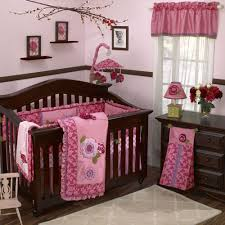 Pink And White Nursery Curtains by Marvellous Baby Room With Pink Bed Sheet And Dark Brown Baby