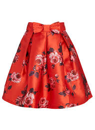 matilda red floral skirt printed occasion full skirt joanie