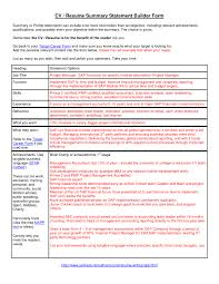 Best Resume Overview by Examples Of Good Resume Summary Statements Free Resume Example