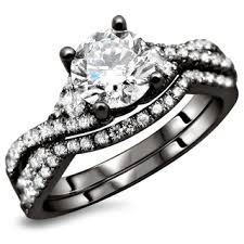black engagement ring set 18k black gold 1 25ct tdw certified 2 bridal