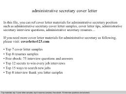 secretary resume cover letter cover letter for administrative