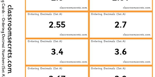 ordering decimal numbers classroom secrets