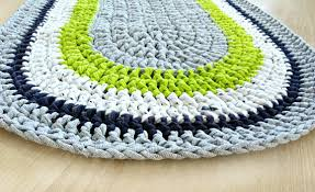 rag rug gray oval rug crochet rug handmade home decor rug for teen