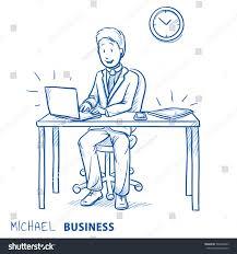 Line Desk Happy Business Man Employee His Desk Stock Vector 568394863