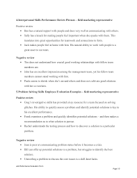 field marketing representative performance appraisal