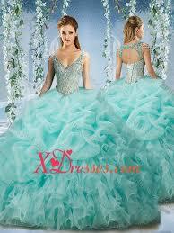 aqua quinceanera dresses beaded and ruffled aqua blue quinceanera dress with beaded decorated