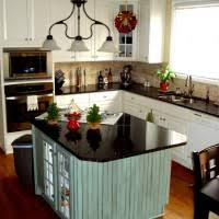 shabby chic kitchen island stained wooden island on brown concrete flooring combined with