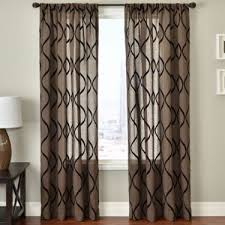 White And Brown Curtains Brown And White Curtains And Home Quinn Leaf Rod Pocket