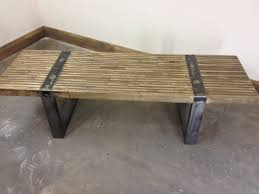 Rustic Metal Coffee Table Rustic Industrial Coffee Table Or Bench With Metal Bands By