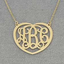 three initial monogram necklace gold 3 initials heart monogram necklace 1 inch wide