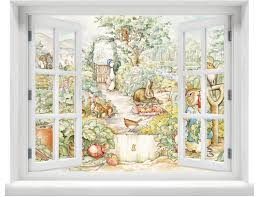 window with a view beatrix potter peter rabbit scene wall zoom