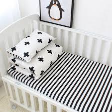 Baby Bedding Cot Sets Baby Bedding Set Cotton Crib Sets Black White Stripe Cross Pattern