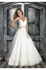 wedding dress sheer straps gown v neck open back tulle lace wedding dress with sheer straps
